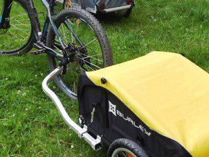 Anhängerkuppel wechselseitig am Fahrrad montierbar