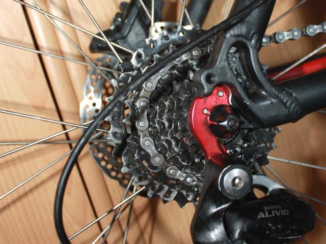 Altes Fett an Kettenblatt und Fahrradkette