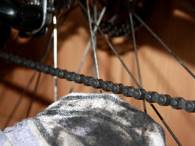 Fahrradkette und Kettenblatt reinigen